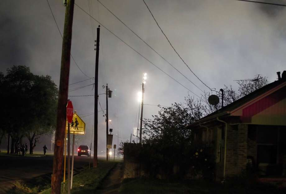 Smoke fills the air after the explosion. (AP Photo/Waco Tribune Herald, Rod Aydelotte)