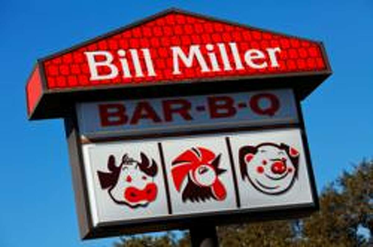 Bill Miller Bar-B-Q Texas fast food barbecue slingers Bill Miller were founded in 1950 with a $500 loan. They are based in San Antonio and are dining staples in Austin and Corpus Christi. You may have guzzled down one of their Texas Tea buckets on a road trip to stay awake. In 2013 they sold more than six million pounds of brisket alone. That's a lot of cow meat.