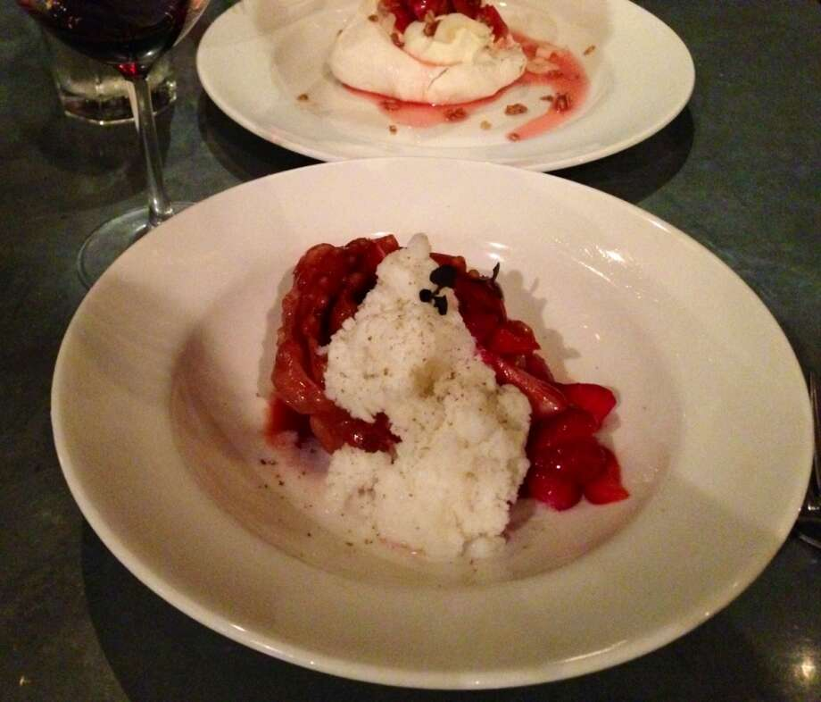 Strawberries ($9) with almond cartellate and buffalo milk granita