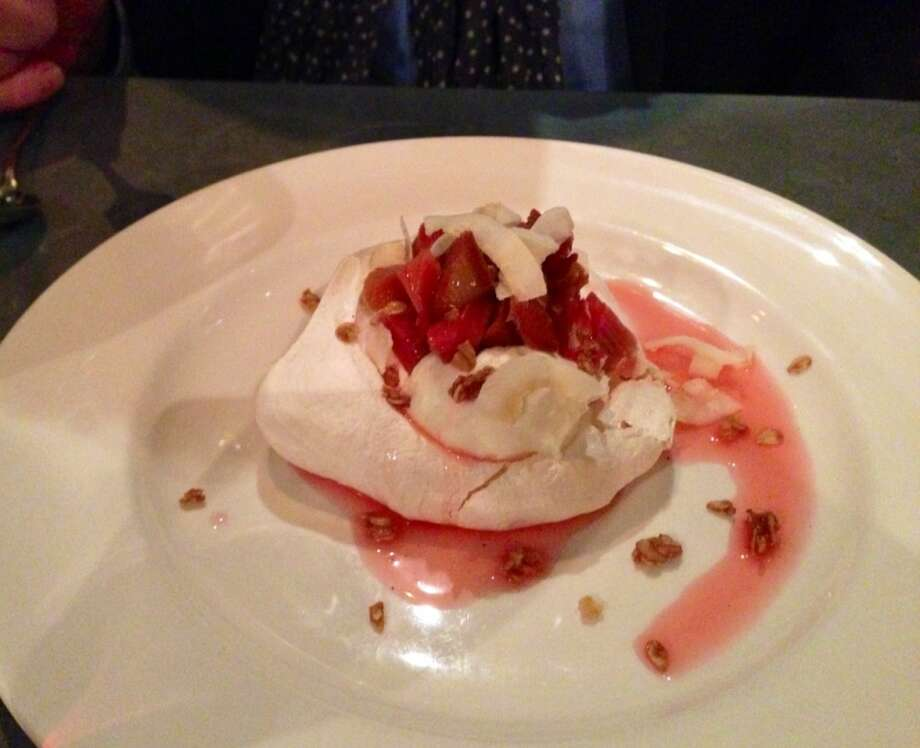 Ginger meringue ($9) with coconut Bavarian and roasted rhubarb