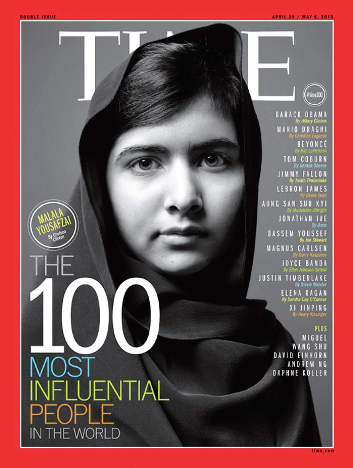 Malala Yousafzai on the cover of Time's 100 Most Influential People In The World.