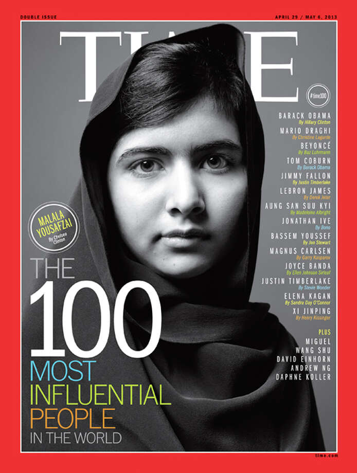Malala Yousafzai on the cover of Time's 100 Most Influential People In The World. Photo: Time Inc.