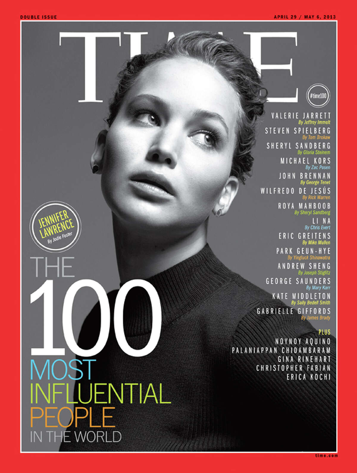 Jennifer Lawrence on the cover of Time's 100 Most Influential People In The World.