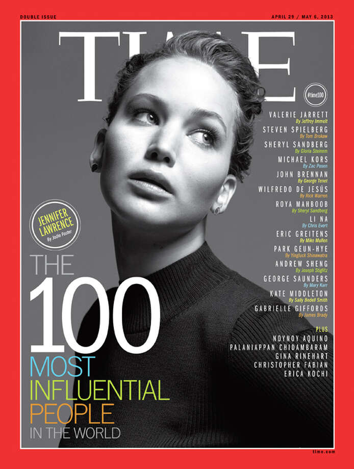 Jennifer Lawrence on the cover of Time's 100 Most Influential People In The World. Photo: Time Inc.