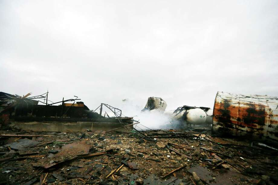 Shown are the remains of a fertilizer plant destroyed by an explosion in West, Texas, Thursday, April 18, 2013.  A massive explosion at the West Fertilizer Co. killed as many as 15 people and injured more than 160, officials said overnight.  (AP Photo/LM Otero) Photo: LM Otero, Associated Press / AP