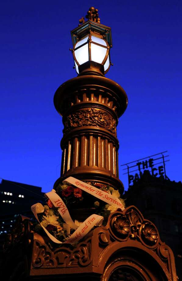 A wreath marks the 107th anniversary of the 1906 earthquake at Lotta's Fountain.