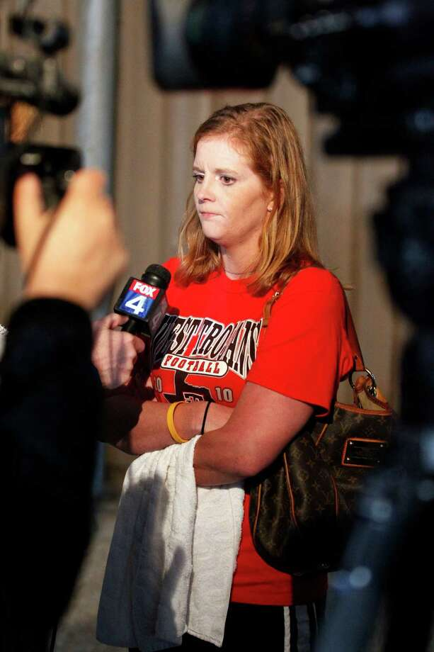 West resident Crystal Ledane, talks to the media near site of a massive explosion at a fertilizer plant in West, Texas on April 17, 2013. Her home was destroyed by the explosion. Photo: Michael Ainsworth / 10017144A