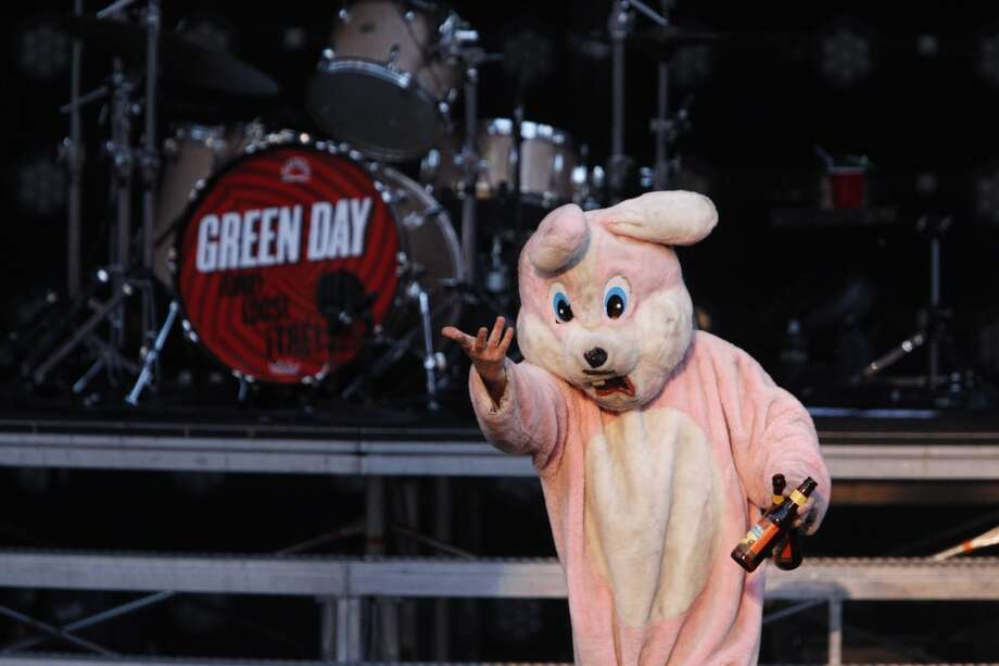 A person in a bunny suit primed the crowd before Green Day, led by Billie Joe Armstrong, played a homecoming show at Berkeley\'s Greek Theatre on Tuesday, April 16, 2013, in Berkeley, Calif.