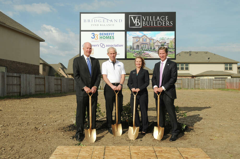 Peter Houghton, Bridgeland; Don Klein, project chairman; Cindy Hinson, Village Builders, and Harry Masterson, GHBA president, prepare to break ground on the 2013 Benefit home being constructed by Village Builders in Bridgeland.