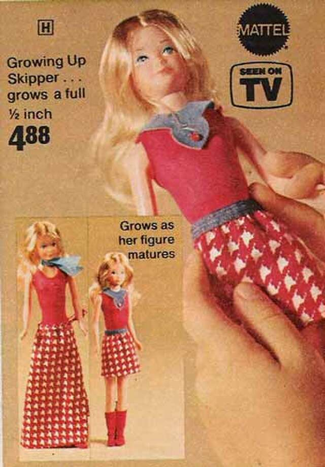 Spin the dial on Growing Up Skipper's back and her figure matures. The point was to teach kids about puberty but parents didn't like this doll who grew breasts.