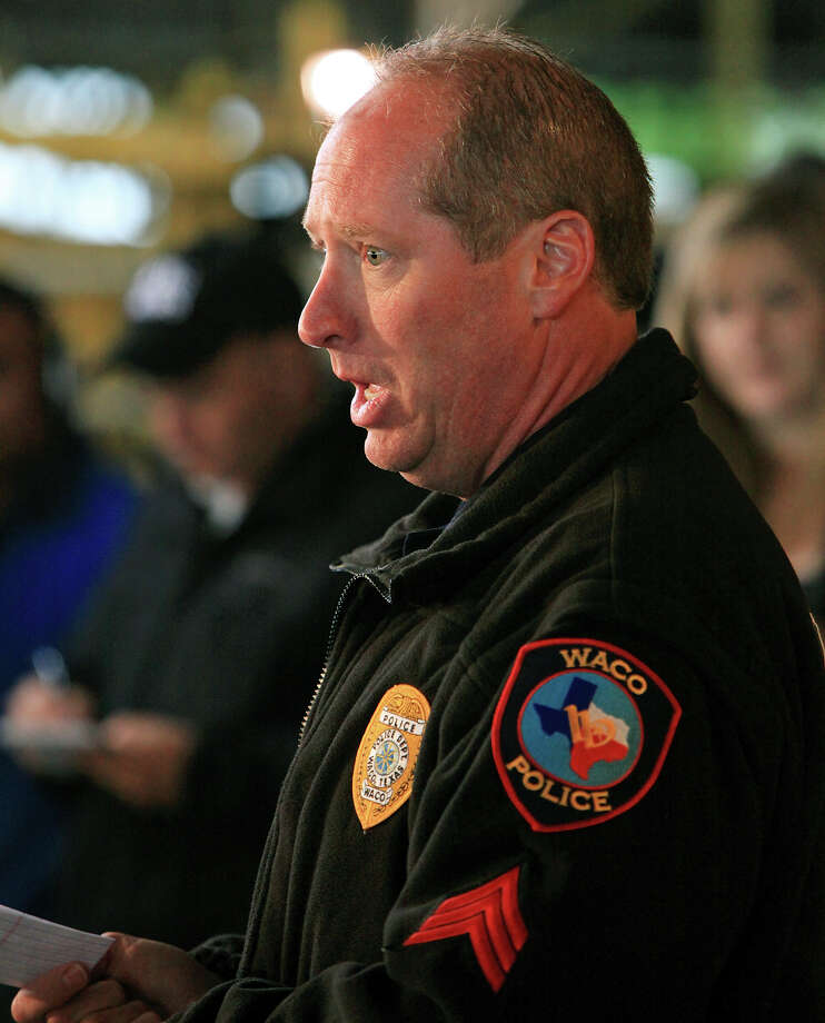 Waco Police Sgt. William Swanton speaks during a press conference on the explosion at a fertilizer plant Thursday April 18, 2013 in West, Tx. Photo: Edward A. Ornelas, San Antonio Express-News / © 2013 San Antonio Express-News