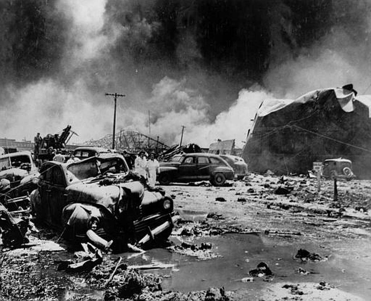 Texas City, Texas was the site of the nation's deadliest industrial accident, a waterfront explosion that killed 576 in 1947. A fiery explosion Wednesday, March 23, 2005, at a BP oil refinery in Texas City shot flames high into the sky and showered plant grounds with ash and chunks of charred metal, killing atleast 15 people. (AP Photo/Houston Post)