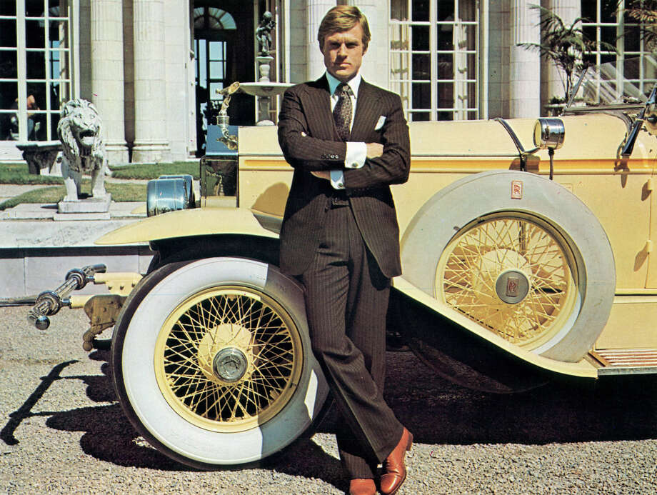 Robert Redford leaning against luxurious car in a scene from the film 'The Great Gatsby', 1974. Photo: Archive Photos, Getty Images / 2012 Getty Images