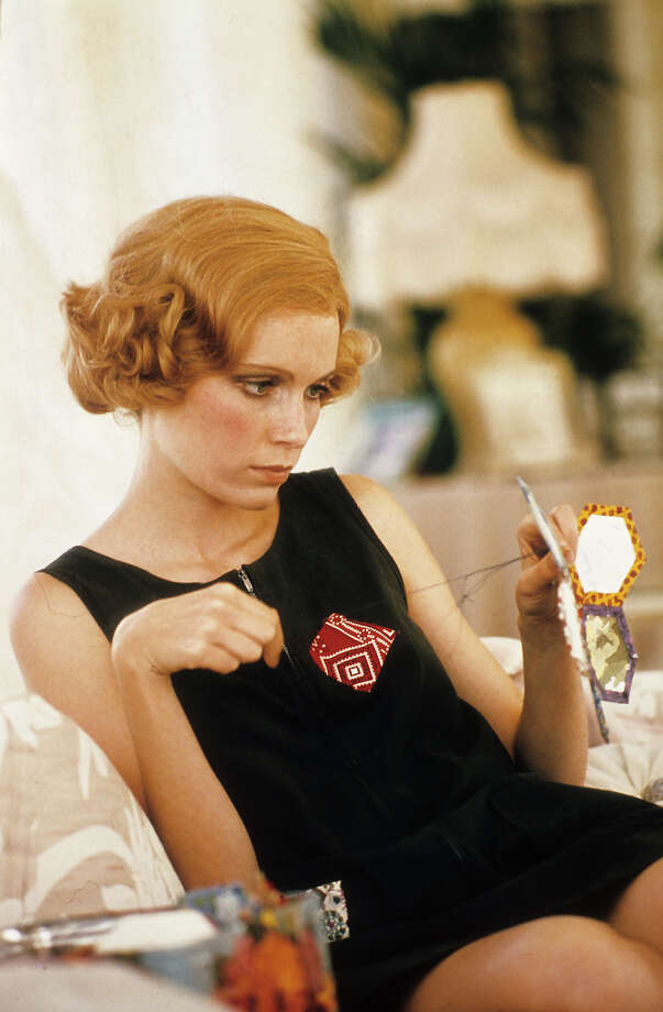 Mia Farrow knitting in a scene from the film 'The Great Gatsby', 1974. Photo: Michael Ochs Archives, Getty Images / 2012 Getty Images