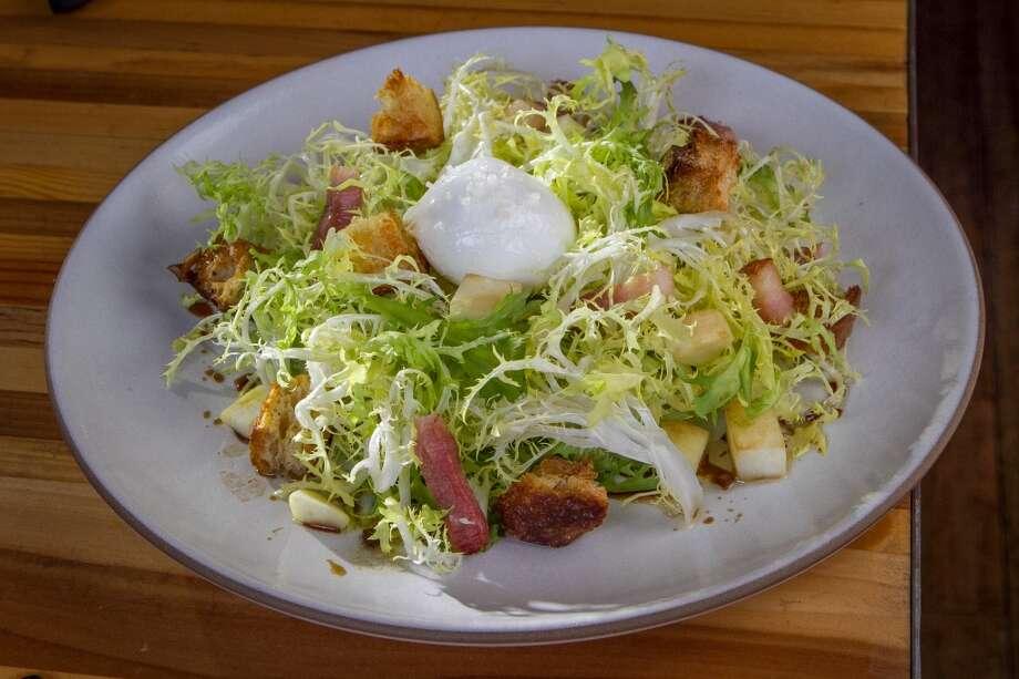 Cobb Salad: Frisée, Bacon, Poached Egg, Croutons, Celery Root and Shallot Vinaigrette ($12)