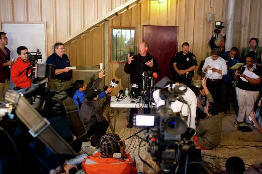 Waco Sgt. William Patrick Swanton addresses the media at West Auction Inc. about the West Fertilizer Co. plant explosion Thursday, April 18, 2013, in West, Texas. A massive explosion at the plant killed as many as 15 people and injured more than 160, officials said overnight. Photo: Johnny Hanson, Houston Chronicle / © 2013  Houston Chronicle