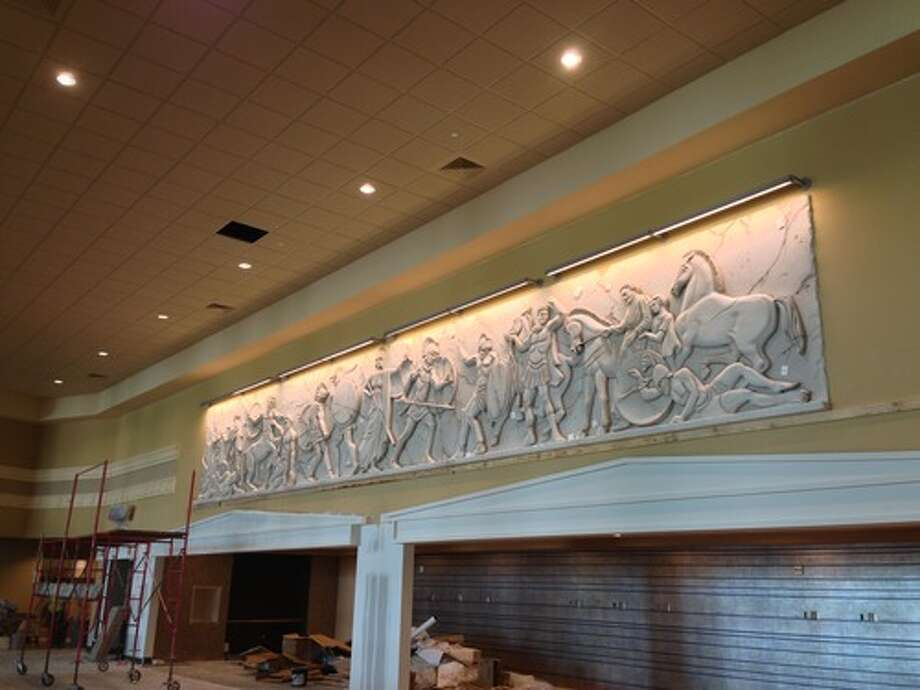 A relief sculpture on the mezzanine level.