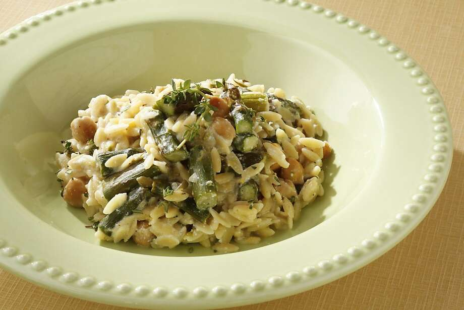 Orzo With Roasted Asparagus, Garbanzo Beans & Ricotta Cheese Photo: Craig Lee, Special To The Chronicle