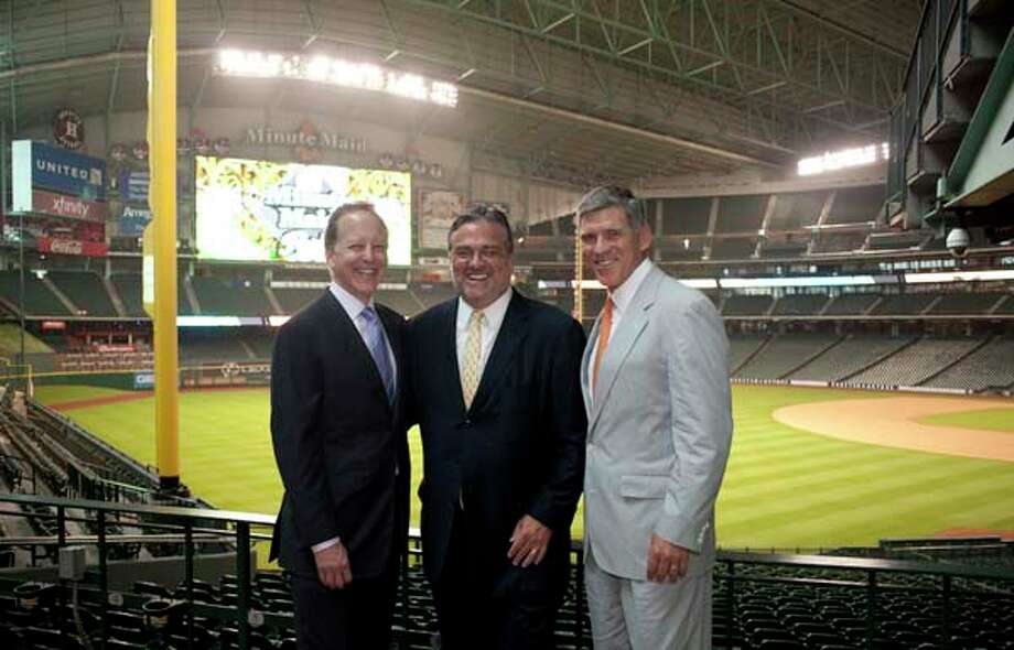 Jim Gray, Gregg Davis, and Paul Hobby (left to right) at the I Am Waters event, at the Minute Maid Stadium, Houston, Texas on the 18th April 2013. Photo: Spike Johnson, For The Chronicle / Houston Chronicle