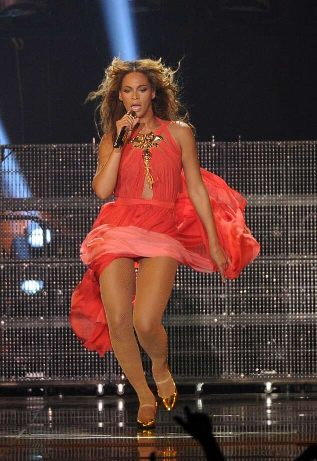 "Singer Beyonce performs on her ""Mrs. Carter Show World Tour 2013\"", on Wednesday, April 17, 2013 at the Arena Zagreb in Zagreb, Croatia. Beyonce is wearing an outfit by designer Alon Livne with shoes by Giuseppe Zanotti."