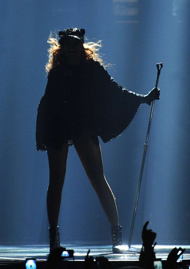 "Singer Beyonce performs on her ""Mrs. Carter Show World Tour 2013\"", on Wednesday, April 17, 2013 at the Arena Zagreb in Zagreb, Croatia. Beyonce is wearing a custom hand beaded one-piece by designer Givenchy."