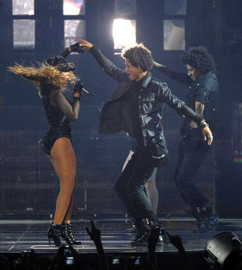 """Singer Beyonce performs on her \""""Mrs. Carter Show World Tour 2013\"""", on Wednesday, April 17, 2013 at the Arena Zagreb in Zagreb, Croatia. Beyonce is wearing a custom hand beaded one-piece by designer Givenchy."""