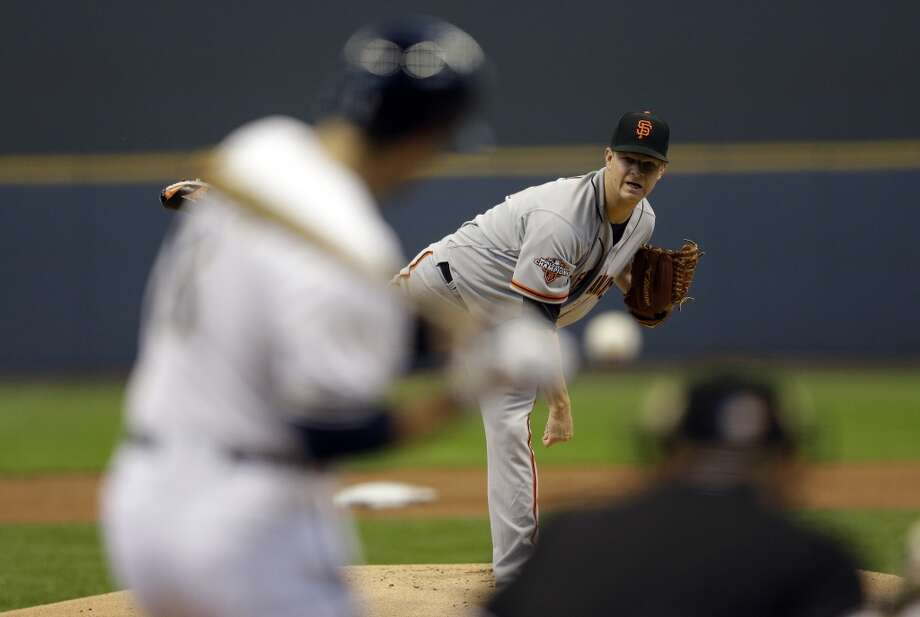 San Francisco Giants starting pitcher Matt Cain throws during the first inning of a baseball game against the Milwaukee Brewers Thursday, April 18, 2013, in Milwaukee.
