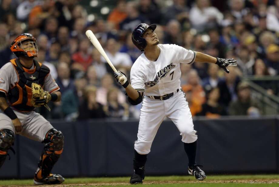 Milwaukee Brewers\' Norichika Aoki hits during the fourth inning of a baseball game against the San Francisco Giants Thursday, April 18, 2013, in Milwaukee.