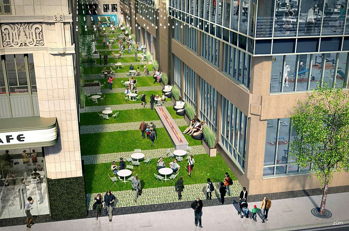 A rendering of the future Stevenson Alley behind Market Square, right off 10th Street between Market and Mission, depicts landscaping, fire pits and outdoor seating. A gym and health center are planned on the right side, while cafes and restaurants are being pursued for the opposite side.