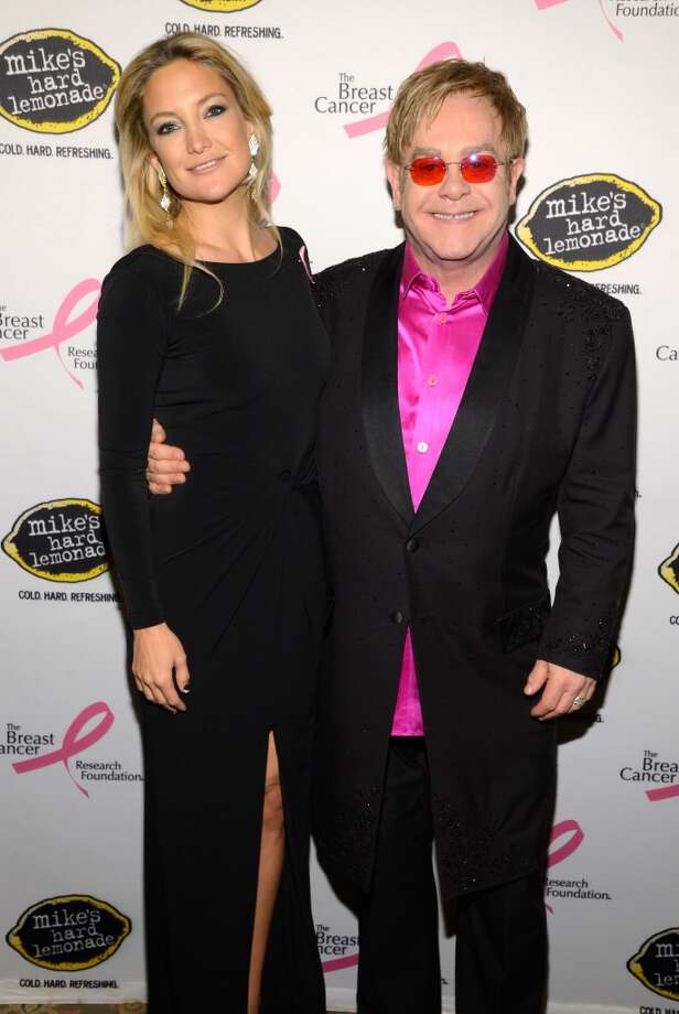 Kate Hudson and Elton John attend the Breast Cancer Foundation\'s Hot Pink Party at the Waldorf Astoria Hotel on April 17, 2013 in New York City.  (Photo by Kevin Mazur/WireImage)