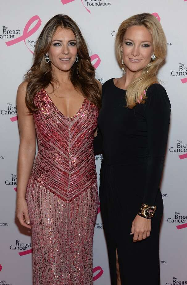 Elizabeth Hurley and Kate Hudson attend the 2013 Hot Pink Party at The Waldorf=Astoria on April 17, 2013 in New York City.  (Photo by Dimitrios Kambouris/Getty Images)