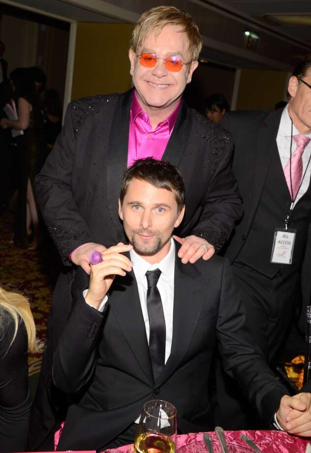Elton John and Matt Bellamy attend the Breast Cancer Foundation\'s Hot Pink Party at the Waldorf Astoria Hotel on April 17, 2013 in New York City.  (Photo by Kevin Mazur/WireImage)
