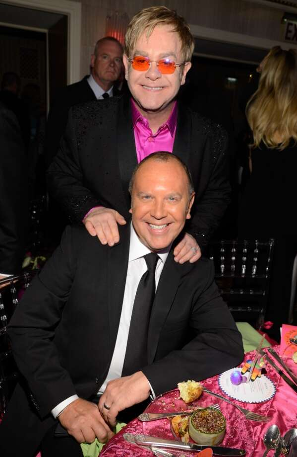 Elton John and Michael Kors attend the Breast Cancer Foundation\'s Hot Pink Party at the Waldorf Astoria Hotel on April 17, 2013 in New York City.  (Photo by Kevin Mazur/WireImage)
