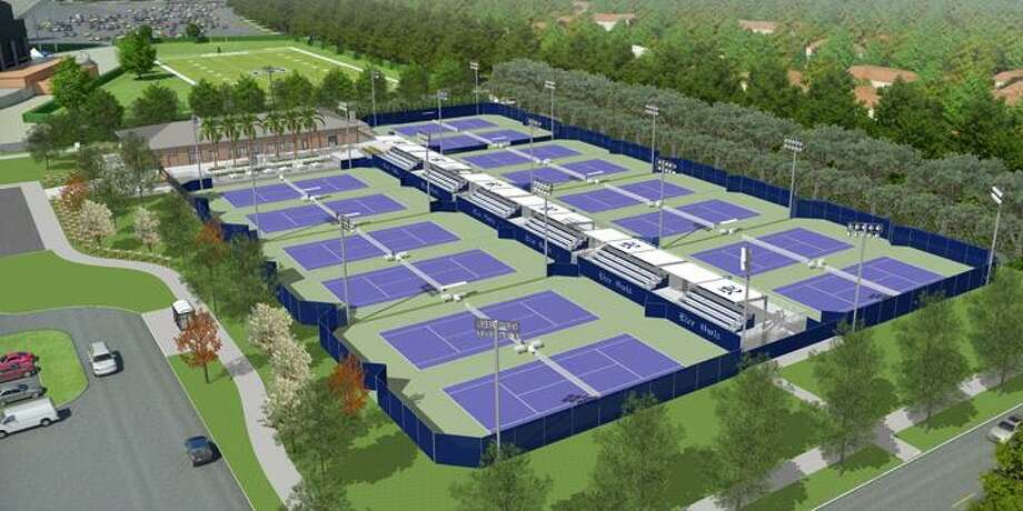 An artist's rendering of the George R.Brown Tennis Complex to be built at Rice and should be finished by 2014.