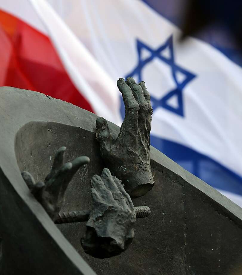 A monument commemorating Ghetto fighters who escaped the Nazis through a sewer during the Warsaw ghetto uprising 70 years ago is pictured on April 18, 2013 in Warsaw. The Warsaw getto was established October 1940 as the largest of all Jewish gettos in Europe during World War II. AFP PHOTO/JANEK SKARZYNSKIJANEK SKARZYNSKI/AFP/Getty Images Photo: Janek Skarzynski, AFP/Getty Images