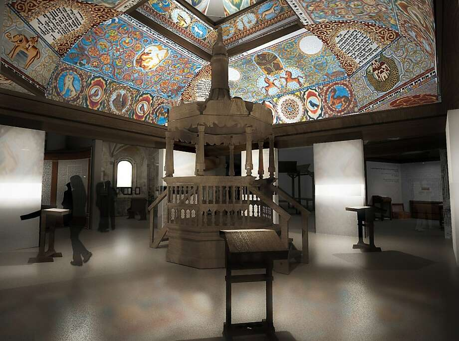 The reconstructed ceiling of a wooden-roofed synagogue is a highlight of one of the principal galleries in Warsaw's new Museum of the History of Polish Jews. (Photo courtesy of the Museum/MCT) Photo: Handout, McClatchy-Tribune News Service
