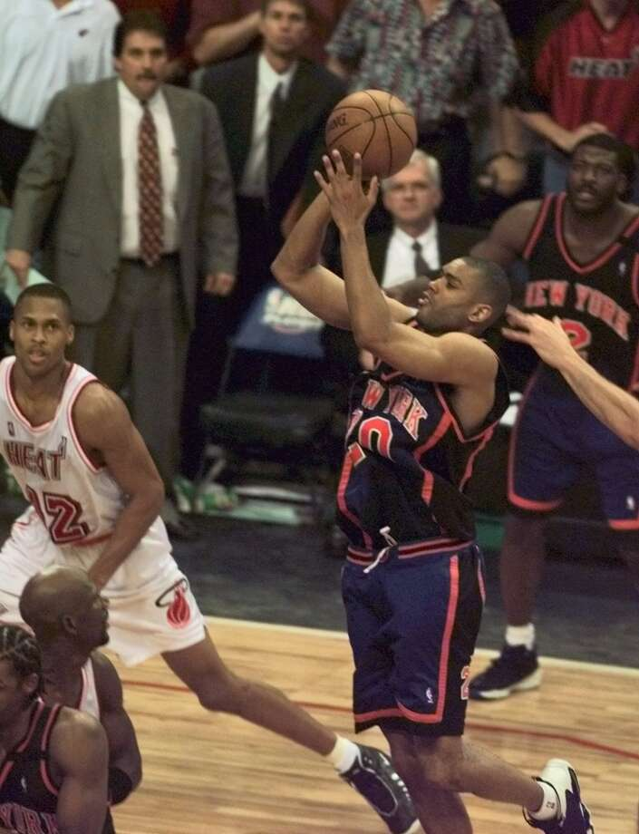 1999: No. 8 New York over No. 1 Miami Allan Houston won the deciding Game 5 for the Knicks with a running one-hander with 0.8 seconds left. The shot bounced off the backboard and the rim before falling through to give New York the win. The Knicks went on to reach the NBA Finals where they fell to San Antonio in five games.