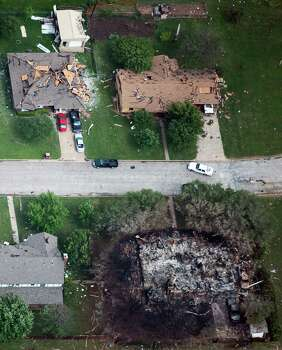 Damage to private homes from the explosion of the West Fertilizer plant is seen in an aerial view on Thursday, April 18, 2013, in West, Texas. Photo: Smiley N. Pool, Houston Chronicle / © 2013  Houston Chronicle