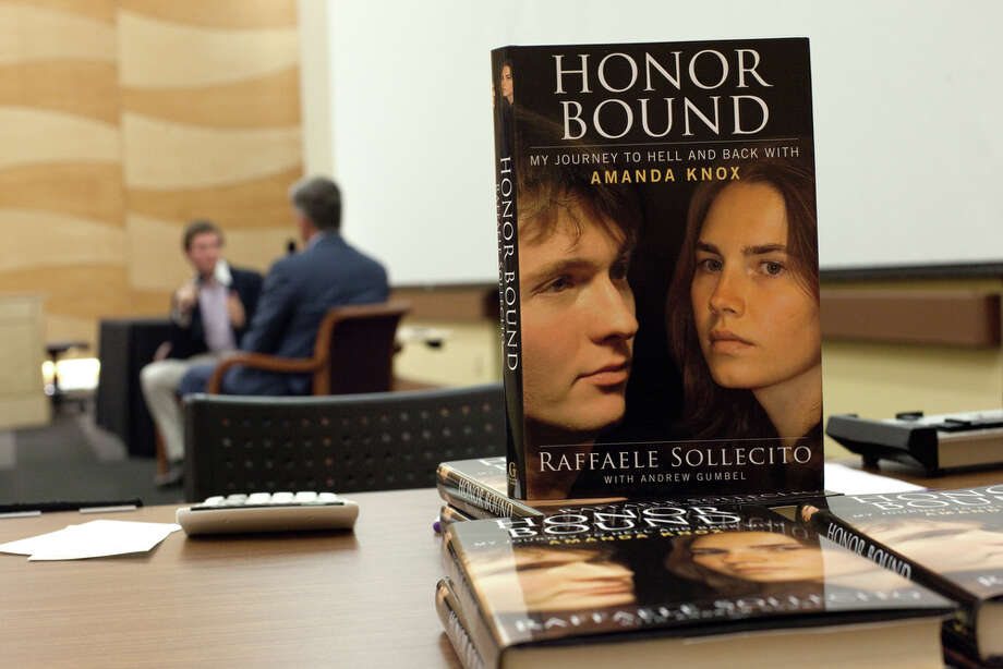 "Raffaele Sollecito's book ""Honor Bound"" is shown as he speaks at the University of Washington. Photo: JOSHUA TRUJILLO / SEATTLEPI.COM"