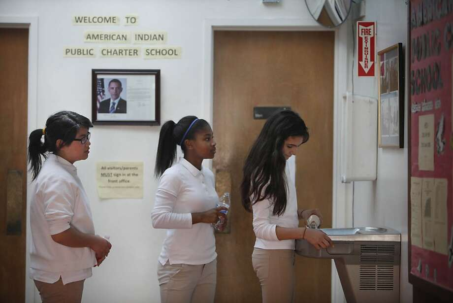 For Anny Hoang (left), Aliah Anderson and Andrea Zamora it appears to be a typical day at the American Indian charter schools, which are in the throes of turmoil after the director and two principals were fired. Photo: Lea Suzuki, The Chronicle