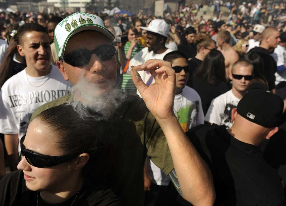 Thousands gather at Civic Center Park in Denver for the annual 420 Pot Rally where hip-hop music blared from the stage and the crowd all light joints and pipes at exactly 4:20 p.m. (Photo By Kathryn Scott Osler/The Denver Post via Getty Images) Photo: Kathryn Scott Osler, Denver Post Via Getty Images