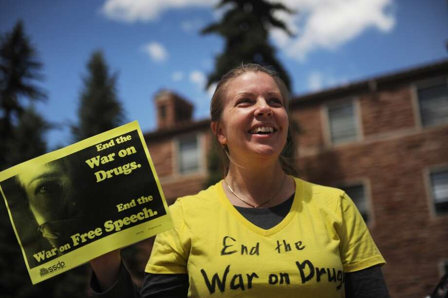 Laura Schneider, a law student at Colorado University Boulder protesting the closure of the Norlin Quad on it's campus to crackdown on pro-marijuana protesters on 4-20 at the school in Boulder, Colorado, Friday, April 20, 2012. (Photo By Joe Amon/The Denver Post via Getty Images) Photo: Joe Amon, Denver Post Via Getty Images