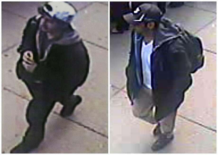 This combination of images released by the FBI on Thursday, April 18, 2013, show two images taken from surveillance video of who the FBI are calling suspect number 2, left, in white cap, and suspect number 1, right, in black cap, as they walk near each other through the crowd before the explosions at the Boston Marathon on Monday, April 15, 2013.  (AP Photo/FBI) Photo: Uncredited, Associated Press