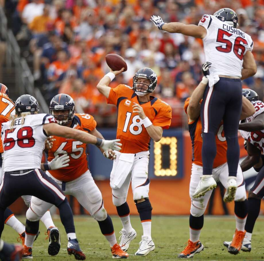 Dec. 22 – Denver Time: Noon TV: CBS  McClain comment: Peyton Manning loses a third consecutive start against a team he used to own.  Prediction: Texans 30-26  Record: 12-3 Photo: Brett Coomer, Chronicle