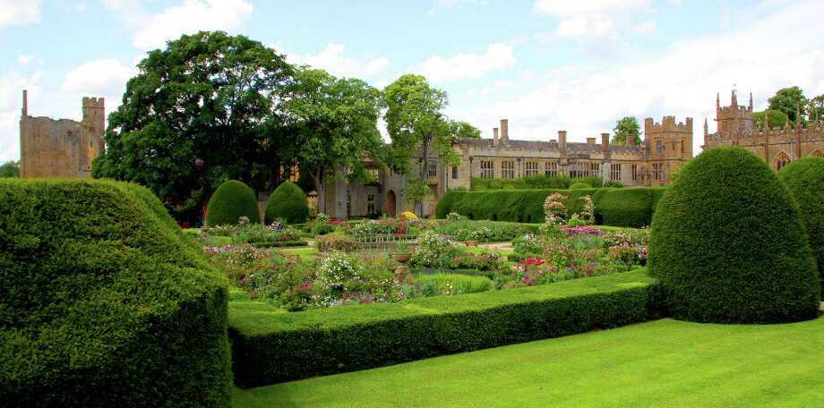 The Queen\'s Garden, with its hundreds of varieties of old-fashioned roses, is the centerpiece of Sudeley Castle\'s extensive landscaping.
