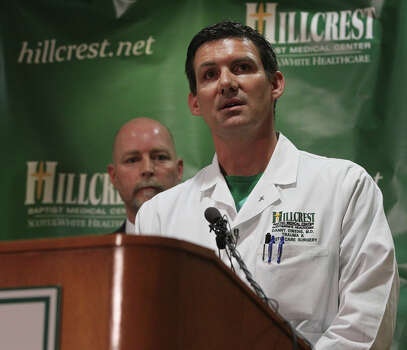 Dr. Danny Owens, a surgeon at Hillcrest Baptist Medical Center in Waco, said Thursday April 18, 2013 that he has seen an lot of soft tissue and skin injuries from the explosion that took place in nearby West. To the left of Owens is Dr. Jim Morrison, the hospital's Chief Medical Officer. Photo: JOHN DAVENPORT, SAN ANTONIO EXPRESS-NEWS / ©San Antonio Express-News/Photo may be sold to the public