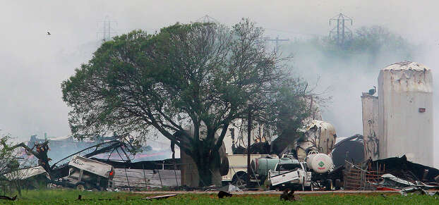 This is the scene Thursday April 18, 2012 of the fertilizer plant explosion in the town of West, Texas. West is about 20 miles north of Waco. Photo: JOHN DAVENPORT, SAN ANTONIO EXPRESS-NEWS / ©San Antonio Express-News/Photo may be sold to the public
