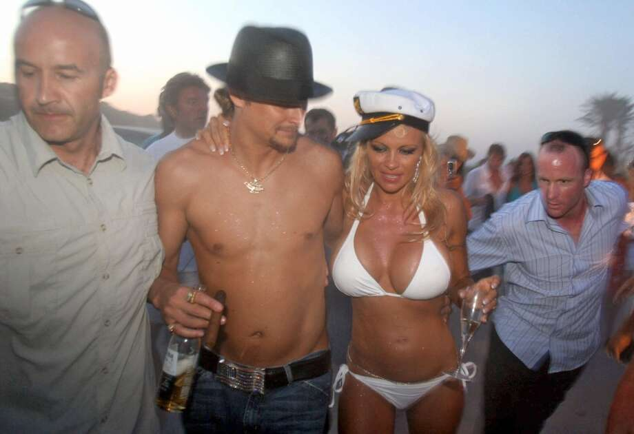 Pamela Anderson with then-husband Kid Rock in St. Tropez, France, in 2006.
