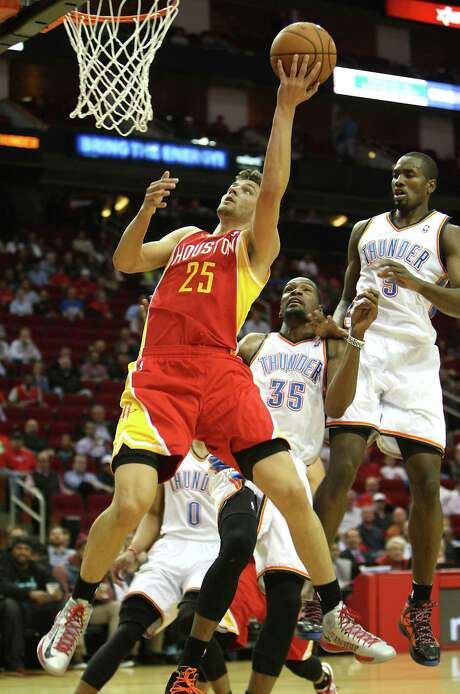 The Houston Rockets Chandler Parsons shoots the ball against Oklahoma City Thunder during the first quarter of NBA game action at the Toyota Center Wednesday, Feb. 20, 2013, in Houston. Photo: James Nielsen, Staff / © 2013  Houston Chronicle