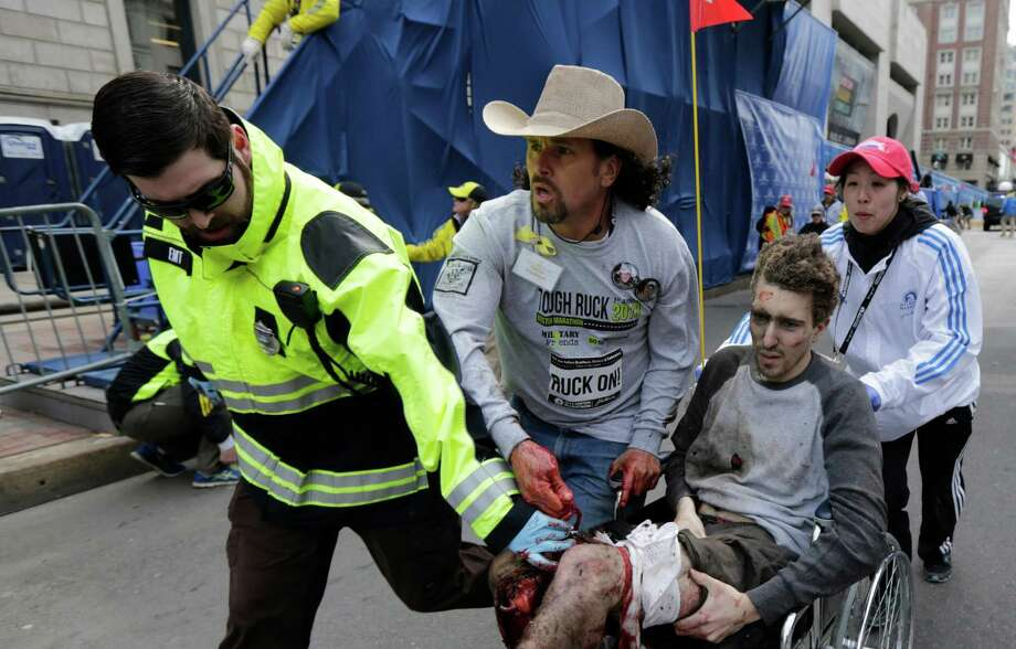 Houstonian Monica Pearson, who was in the medical tent after finishing Monday's Boston Marathon, says the first victim to come in was Jeff Bauman, above. Photo: Charles Krupa, STF / AP